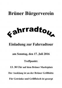 Einladung Fahrradtour 20161